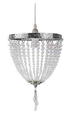 Vintage French Style Chrome Ceiling Pendant Light Chandelier Lamp Shade
