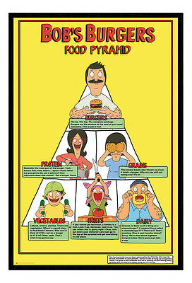 Framed Bobs Burgers Food Pyramid TV Show Poster New