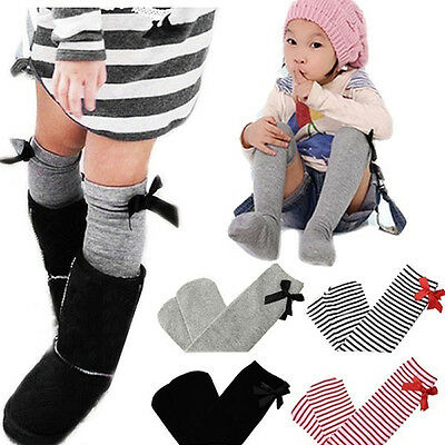 Toddler Baby Girls Cotton Knee Socks Bowknot Long Leg Warmer 1-8 Years