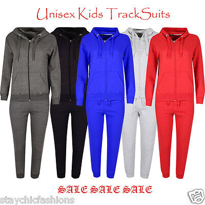 Boys Girls Kids Unisex Sweatshirt Hooded Hoodie Top Jogger Bottom Tracksuit Set
