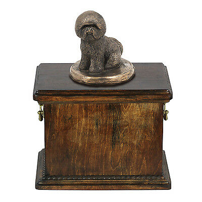 Solid Wood Casket Bichon   Memorial Urn for Dog's ashes with Dog statue.Pet Urn