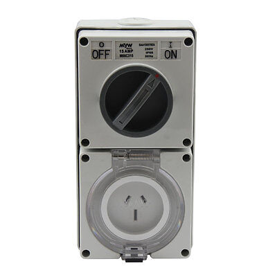 Switched Socket Outlet Cobination 15 Amp 250V 3 Flat Pin Ip66 S.s.o