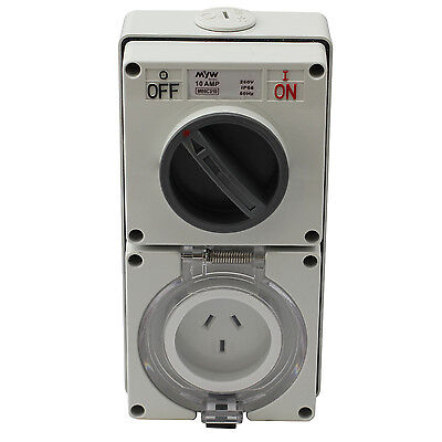 Switched Socket Outlet Cobination 10 Amp 250V 3 Flat Pin Ip66 S.s.o