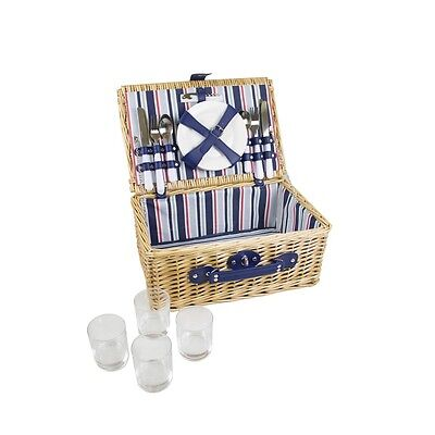 4 Person Willow Wicker Picnic Basket Summer Outdoor Hamper Set With Cutlery