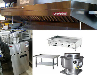 7FT Food Truck Exhaust Hood with 4ft Propane Griddle, Stand and Fryer
