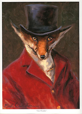 FOX in a RED HUNTING TUNIC and TOP HAT FINE ART PRINT - by the late Mick Cawston