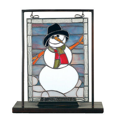 """Meyda 68340 9.5""""W X 10.5""""H Snowman Lighted Mini Stained Glass Tabletop Window"""