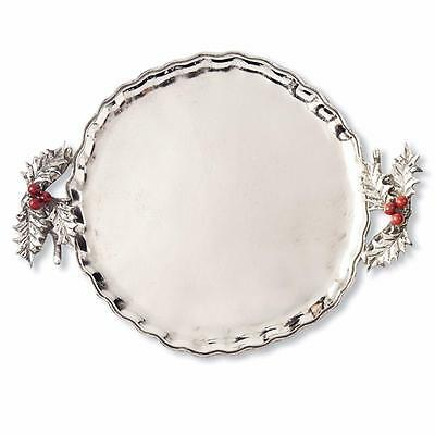 """Mud Pie Holly Collection Metal Round Serving Tray, 13.5"""" x 16"""""""