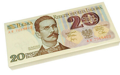 POLAND 20 ZLOTYCH 1982 P 149 UNC (BUNDLE of 100 NOTES)