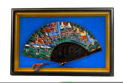 Early 20C Chinese Export Framed Bamboo Lacquer Fan Painting Faces