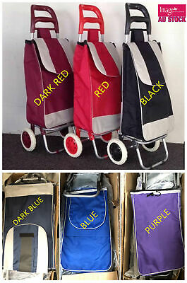 Black Shopping Trolley Cart Bag Foldable Wheels Carts Bags Market Luggage Basket