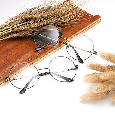 Fashion Men Women Metal Frame Clear Round Lens Glasses Nerd Spectacles Eyeglass