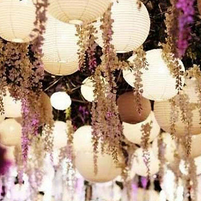 10X Round Paper Lanterns Wedding Party Home Chinese White Decoration Lamps