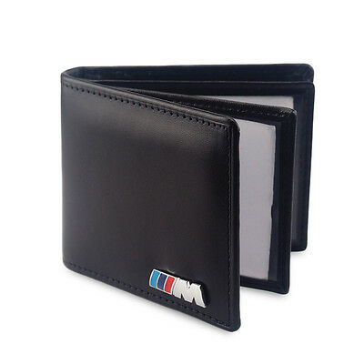 ///M Sport Genuine Leather Car Licence Bag Emblem Credit Card Case For BMW