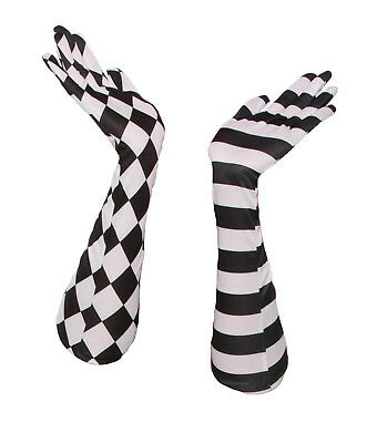 Harlequin Black White Circus Clown Long Elbow Opera Gloves Costume Accessory