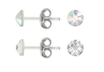 Sterling Silver Stud Post Earrings made with 2088 4.3mm Swarovski® Crystals