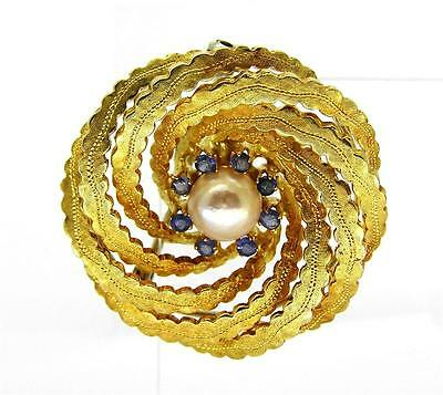 Beautiful 18Ct Solid Gold Sea Pearl & Sapphire Brooch UK Hallmarked Strongfields