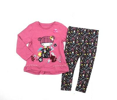 2 Piece Girls Baby Outfit Set T-Shirt Leggings Floral Forest 1 - 6 Years