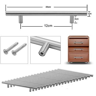 20X Brushed Steel T Bar Handles Kitchen Cabinet Drawer Bedroom Door Cupboard UK