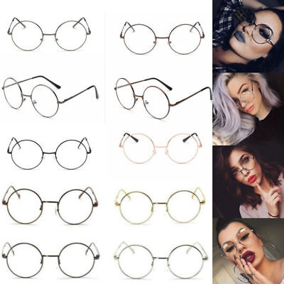 XL LARGE Glasses Round Retro Clear Lenses Gold Frame sunglasses Nerd Spectacles