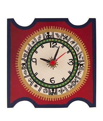 Indian Handmade  Square Warli Painted Red Table Clock (5 Inch)