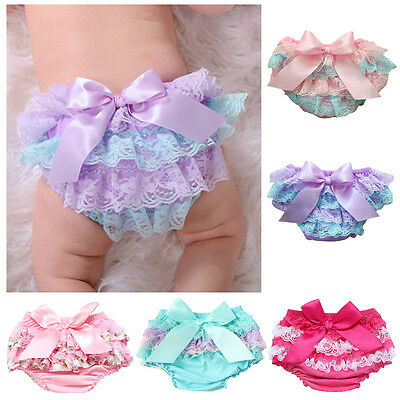 Newborn Baby Girls Nappy Cover Toddler Kids Lace Ruffle PP Pants Bloomers Shorts