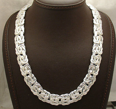 """Bold Shiny Byzantine Chain Necklace Real Sterling Silver QVC 18"""" 20"""" 67.40gr"""