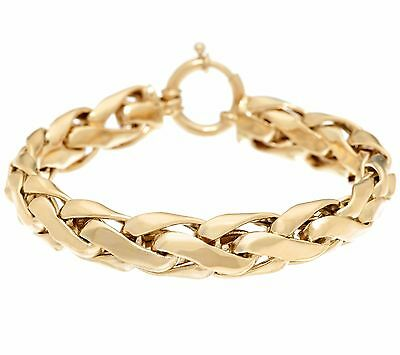 Polished Bold Woven Wheat Spiga Bracelet Real 14K Yellow Gold QVC ALL SIZES