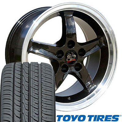 """17x9 Black Cobra R Style Wheels & Tires Set of 4 17"""" Rims Fit Mustang® GT CP"""