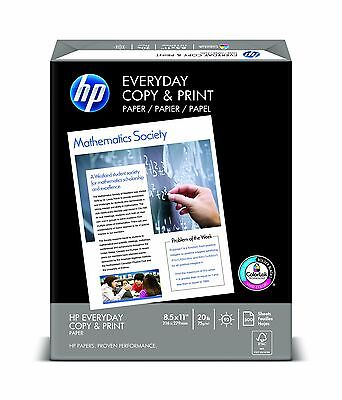 """HP Everyday Printer Papers Copy and Print 20-Pound 8-1/2 by 11"""" 500 Sheets New!"""