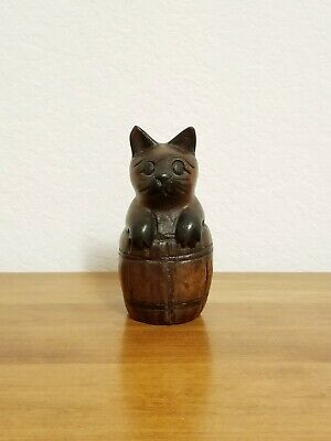 Vintage Handcrafted Wood Cat In a Barrell Figurine