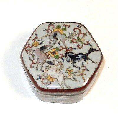Rare Old Japanese Cloisonne Enamel Horses And Phoenix Birds Hexagon Box
