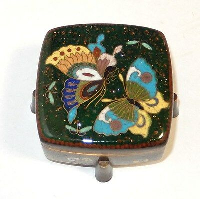 Rare Old Japanese Cloisonne Green Ginbari Enamel Butterfly Box