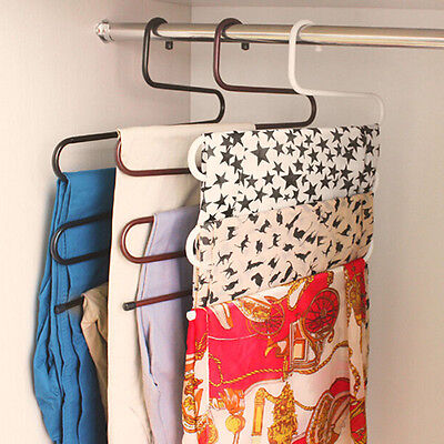 1x Pant Rack Stainless Steel S-Shape Multilayer Trouser Clothes Hanger Organizer