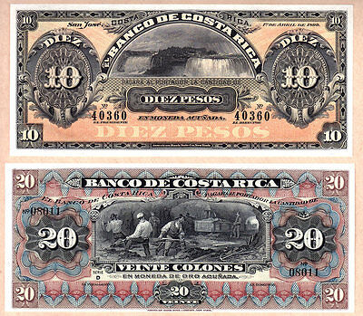 Gorgeous Pair of Choice UNC Notes: Costa Rica 1899 & 1914 (ND) 10 & 20 Pesos