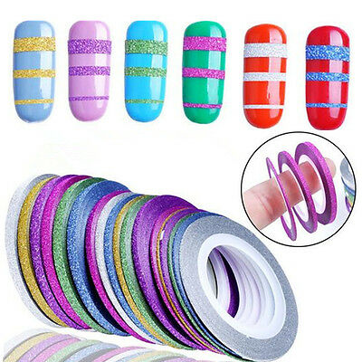 10 Rouleaux Glitter Ongle Fil Bandes Striping Tape Autocollant Déco Sticker Nail