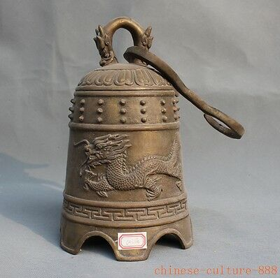 Old Chinese Buddhism Temple Bronze statue Dragon Head Handle Hanging Clock Bell