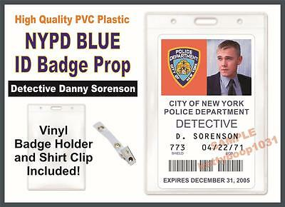 NYPD BLUE ID Badge / Card Prop - Police Detective Danny Sorenson w/ Badge Holder