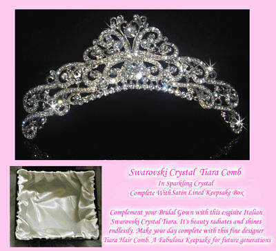 Crystal Italian Designer Tiara's Made With Swarovski Crystal - GBT025