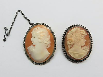 2 Vintage silver mounted cameo brooches