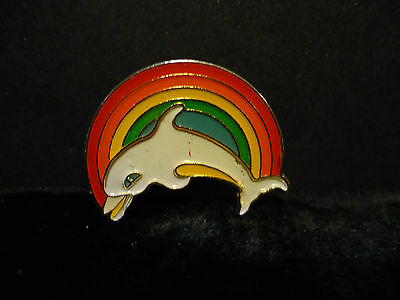 Colorful Rainbow & Dolphin Lapel Hat Pin