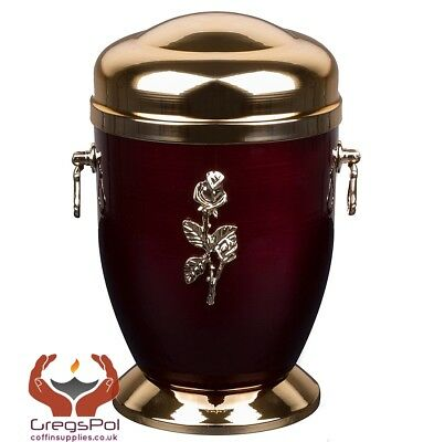 Exclusive Red Metal Cremation  Urn for Ashes  with Rose Adult Cremation  Urn