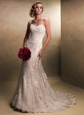 New Sexy White/Ivory Lace Mermaid wedding dress Bridal Gown Stock size 6 -- 16