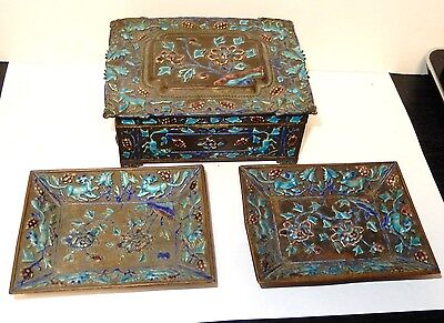 Old Large Chinese Repousse Cloisonne Enamel Two Ash Trays And Humidor Jar Box