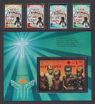 """BIAFRA - 1970 SCARCE """"Save Biafra"""" opt set + SS - MNH/VF - See note in Scott"""