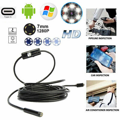 USB Borescope Inspection Endoscope 2m 5m Snake Camera for Android, Laptops, PC