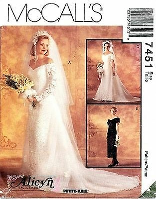 Vintage McCalls 7451 UNCUT SEWING Pattern Wedding Bridal Gown Bridesmaids Dress