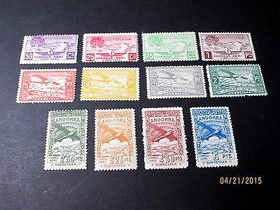 Andorra Airmail Set Complete(12 Values) Noted In Scott Before C1, Mint Nh