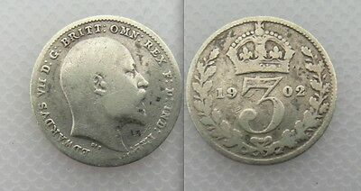 Collectable 1902 King Edward VII Silver Threepence