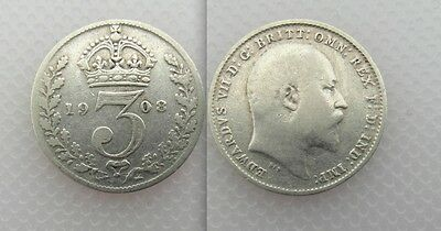 Collectable 1908 King Edward VII Silver Threepence
